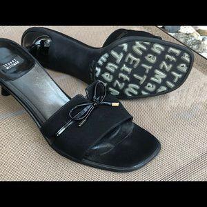 Stuart Weitzman Kitten Heel / Bow Slide Sandals